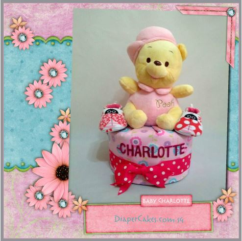 1-Tier-Winnie-The-Pooh-Diaper Cake-BabyGifts Singapore-Girl-Charlotte-3