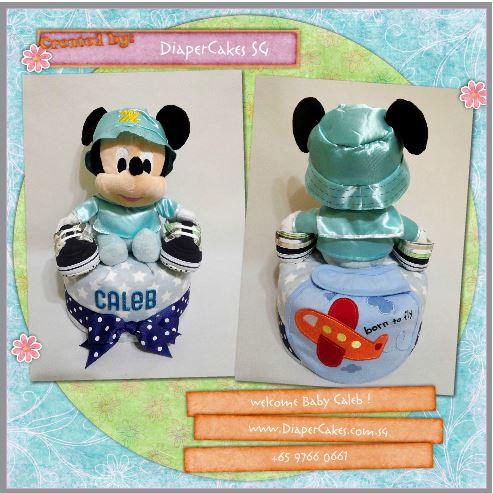 1Tier -DiaperCakesSingapore-BabyGifts-MickeyMouse-Boy-Caleb-3