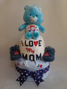 2-Tier-Blue-Care-Bear-Diaper Cake-Baby Gifts Singapore- Boy-1