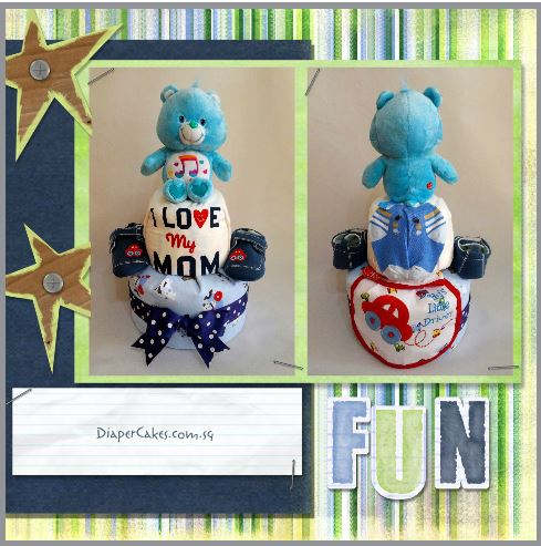 2-Tier-Blue-Care-Bear-Diaper Cake-Baby Gifts Singapore- Boy-5