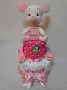 2 Tier -DiaperCakesSingapore-BabyGifts-PinkPiglet-Girl-Victoria-1
