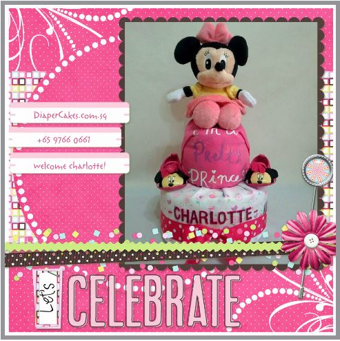 2-Tier-Minnie-Mouse-Diaper Cake-Baby Gifts Singapore- Girl-Charlotte-3