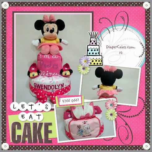 2-Tier-Minnie-Mouse-Diaper Cake-Baby Gifts Singapore- Girl-Gwendolyn-5