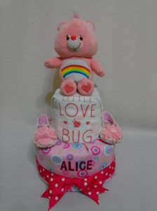2-Tier-Rainbow-Care-Bear-Diaper Cake-Baby Gifts Singapore- Girl-Alice-1