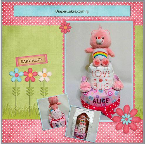 2-Tier-Rainbow-Care-Bear-Diaper Cake-Baby Gifts Singapore- Girl-Alice-5