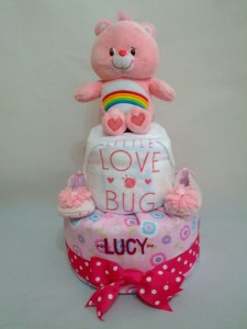 2-Tier-Rainbow-Care-Bear-Diaper Cake-Baby Gifts Singapore- Girl-Lucy-1