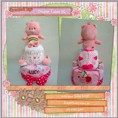 2-Tier-Rainbow-Care-Bear-Diaper Cake-Baby Gifts Singapore- Girl-Lucy-3