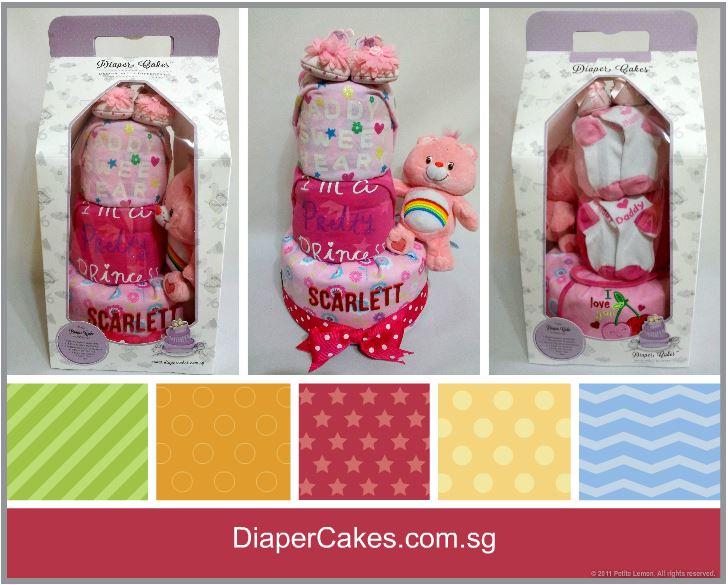 3-Tier-Rainbow-Care-Bear-Diaper Cake-Baby Gifts Singapore- Girl-Scarlett-5