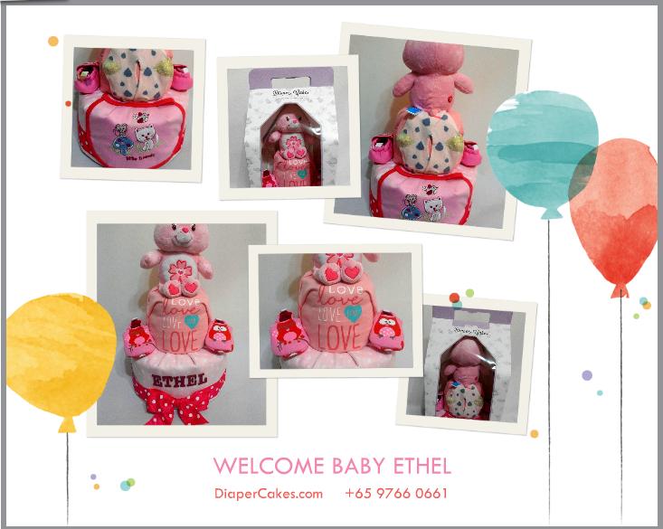 2Tier-DiaperCakesSingapore-BabyGifts-CareBear-Girl-Ethel-5