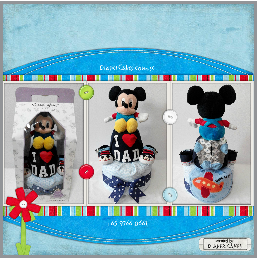2Tier-DiaperCakesSingapore-BabyGifts-Mickey-Boy-5