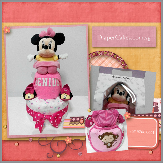 2Tier-DiaperCakesSingapore-BabyGifts-MinnieMouse-Girl-5