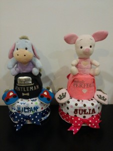 2Tier -DiaperCakesSingapore-BabyGifts-Twins-Eeyore-Boy-Julian-Piglet-Girl-Julia-1