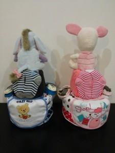 2Tier -DiaperCakesSingapore-BabyGifts-Twins-Eeyore-Boy-Julian-Piglet-Girl-Julia-2
