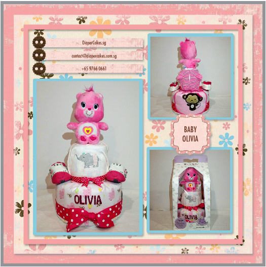 2Tier-DiaperCakesSingapore-BabyGifts-WonderBear-Girl-Olivia-5