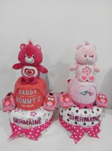 2Tier-DiaperCakesSingapore-BabyGifts-PinkCareBear-WonderHeartBear-Girl-twins-Shermaine-Germaine-1