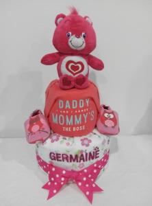2Tier-DiaperCakesSingapore-BabyGifts-PinkCareBear-WonderHeartBear-Girl-twins-Shermaine-Germaine-3