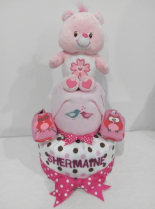 2Tier-DiaperCakesSingapore-BabyGifts-PinkCareBear-WonderHeartBear-Girl-twins-Shermaine-Germaine-5