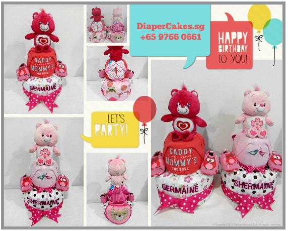 2Tier-DiaperCakesSingapore-BabyGifts-PinkCareBear-WonderHeartBear-Girl-twins-Shermaine-Germaine-7