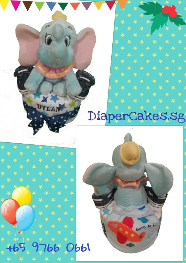 1Tier-DiaperCakesSingapore-BabyGift-Elephant-BabyBoy-Dylan-3