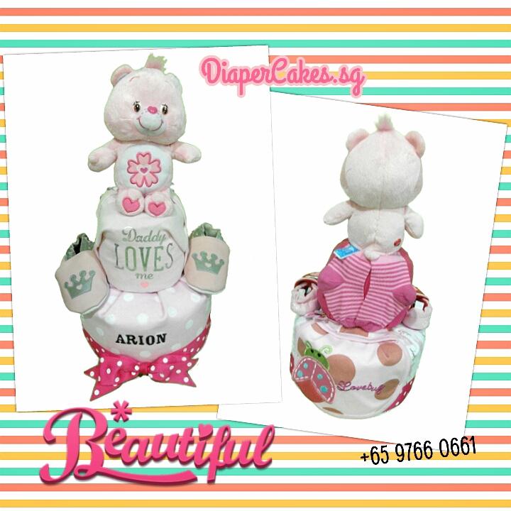 2Tier-BabyGift-DiaperCakesSingapore-PinkCareBear-Arion-3