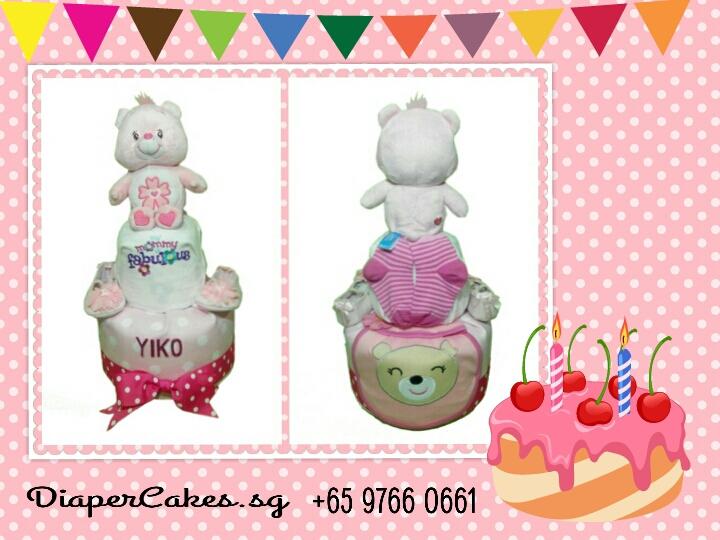 2Tier-DiaperCakesSingapore-BabyGift-CareBear-BabyGirl-Yiko-3