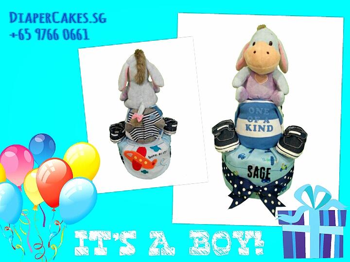 2Tier-DiaperCakesSingapore-BabyGift-Eeyore-BabyBoy-Sage-3