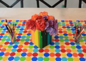 art-supplies-centerpiece- baby shower decoration ideas