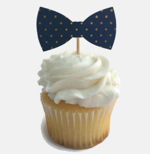 Polka Dot Bowtie Cupcakes Baby Shower Cupcakes