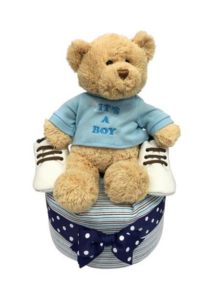 It's A Boy Teddy bear Baby Gift Diaper Cake