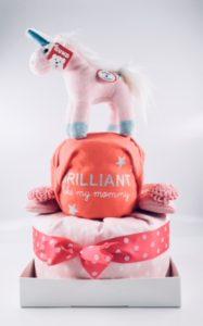 unicorn baby diaper cake 1